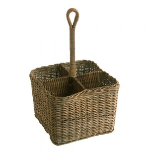 Large Grey Rattan Condiment or Cutlery Holder