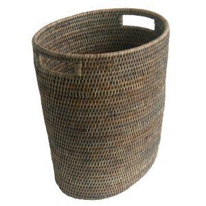 Grey Fine Oval Waste Paper Basket with Metal Liner