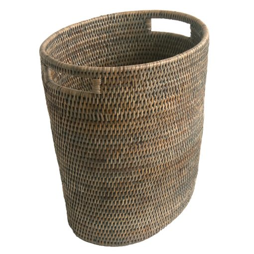Grey Fine Oval Waste Paper Basket with Metal Liner