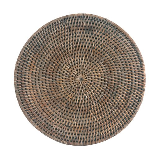 Round Grey Rattan Placemat