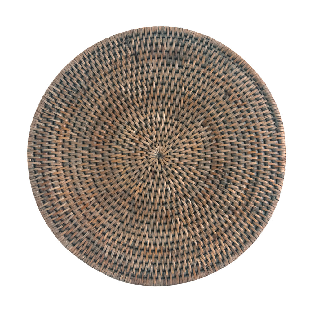 Round Grey Rattan Placemats