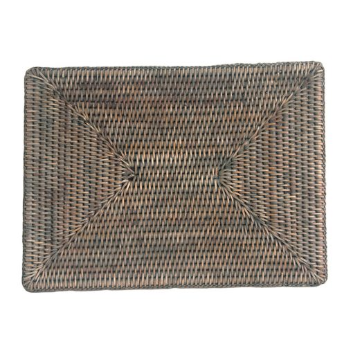 Rectangular Grey Rattan Placemat