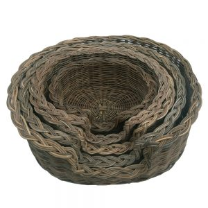 Classic Grey Wicker Dog Basket in 5 sizes