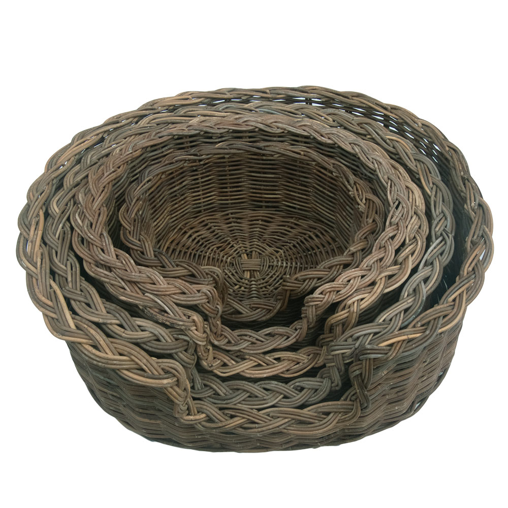 Grey Wicker Basket Uk : Grey wicker dog basket in sizes