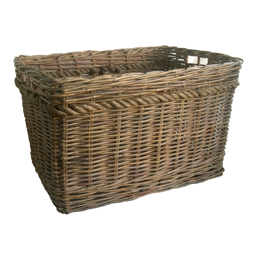 Grey Oblong Log Basket with Rope Detail in 2 Sizes