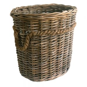 Oval Grey Rope Handled Log Basket