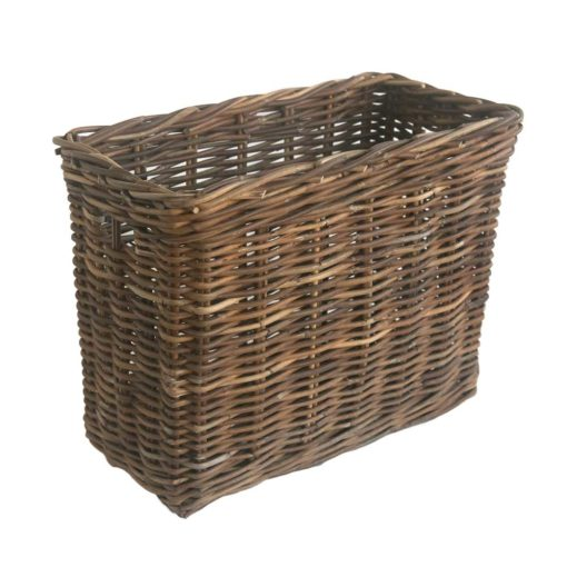 Small Tall Narrow Grey Rattan Storage Basket