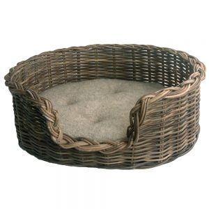 Classic Grey Wicker Dog Basket with Fleece Cushion