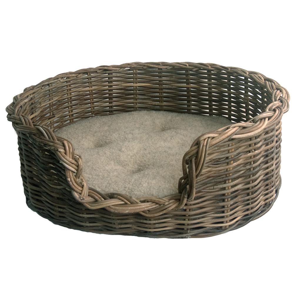Classic Grey Wicker Dog Basket with Fleece Cushion