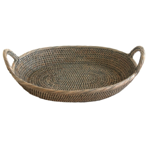 Oval Grey Tray Basket with Handles in 2 Sizes