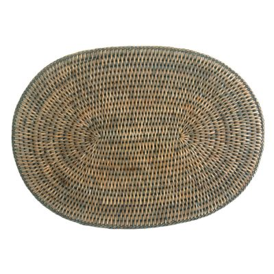 Oval Grey Rattan Placemat