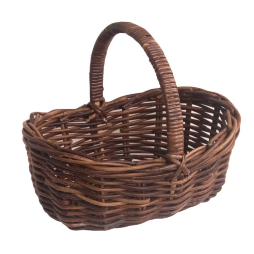 Small Dark Rattan Scooped Shopping Basket