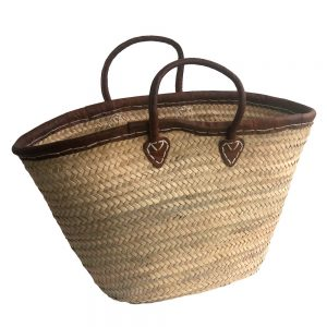 Leather Rim French Market Basket