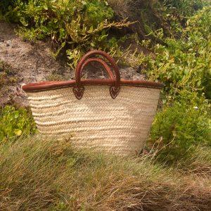 Leather Rim French Market Shopping Basket