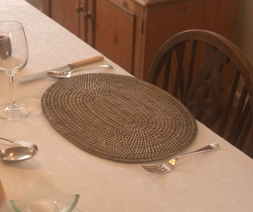 Oval Grey Rattan Placemats