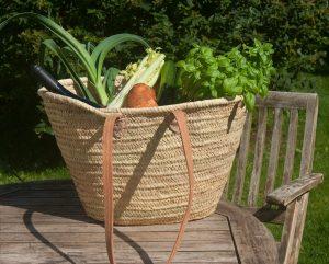 Long Leather Handled French Market Basket