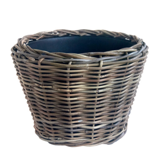 Large Round Grey Planter with Rigid Plastic Liner