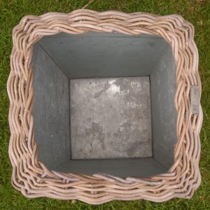 Inside Square Shaped Grey Rattan Planter with Zinc Liner