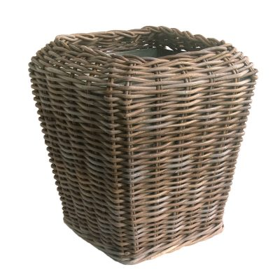 Square Shaped Grey Rattan Planter with Zinc Liner