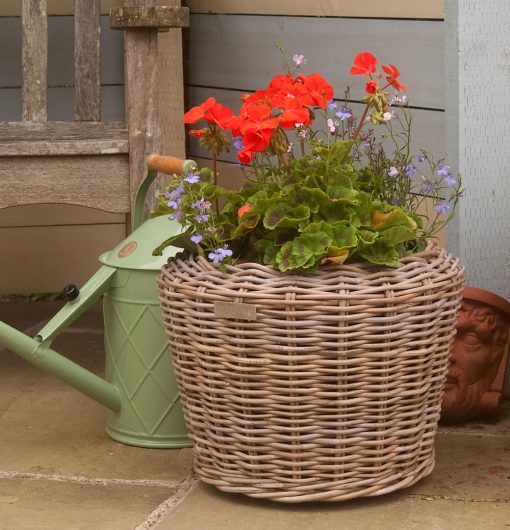 Round Grey Rattan Planter with Geranium