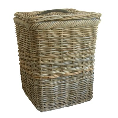 Square Grey Lined Laundry Basket with Lid