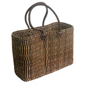 Two-Tone Oblong Bulrush Shopping Basket