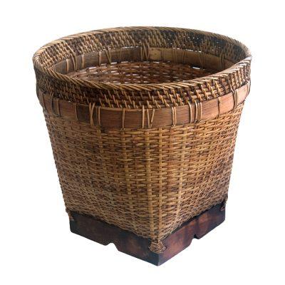Round Bamboo Wastepaper Basket