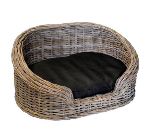 Oval Grey High-back Wicker Dog Basket