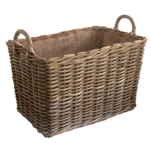 Large Oblong Grey Lined Log Basket
