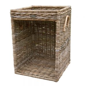 Rattan Log Store with Rope Handles