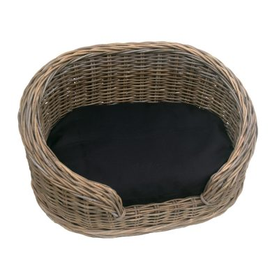 Small Oval Grey High-back Rattan Dog Basket