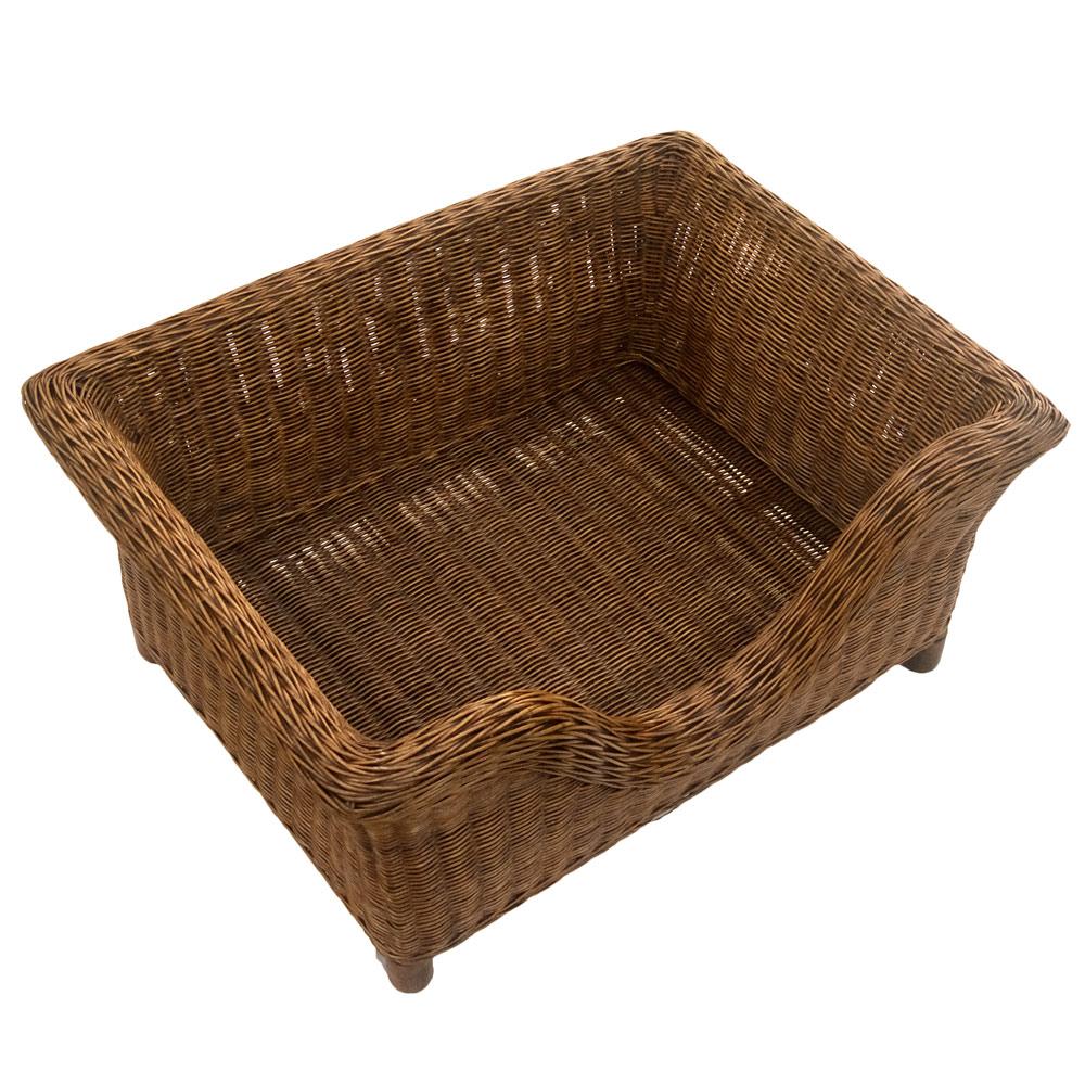 Medium Luxury Raised Rattan Dog Basket