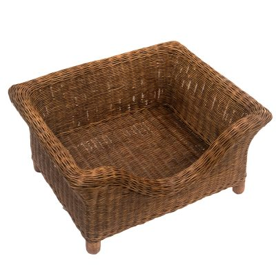 Small Luxury Raised Rattan Dog Basket