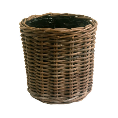 Round Grey Rattan Basket with Liner