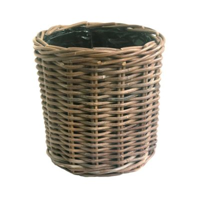 Round Grey Wicker Planter with Plastic Liner