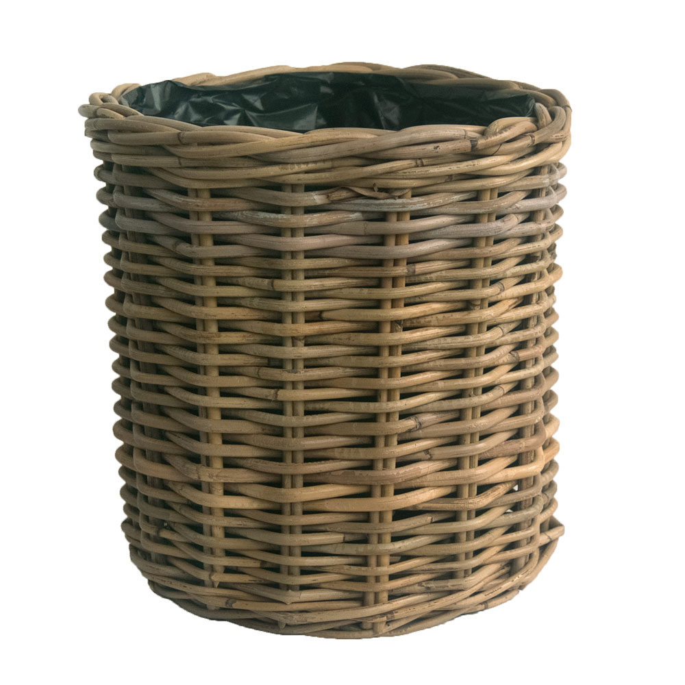 Round Grey Rattan Wastepaper Basket with Liner
