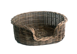 Grey Wicker Dog Basket