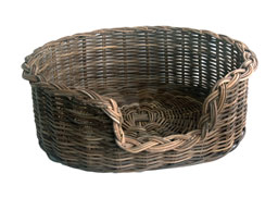 Classic Grey Wicker Dog Basket