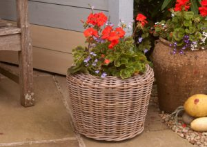 Round Grey Rattan Planter with Plastic Liner