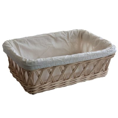 Lined Light Rattan Bread Basket