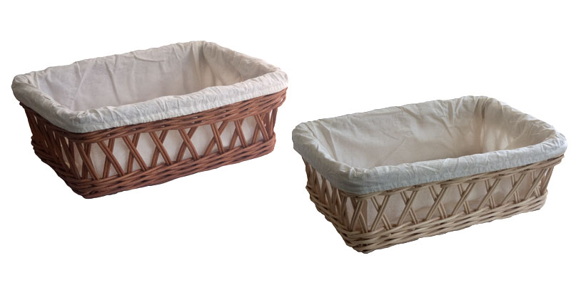 Lined Wicker Bread Baskets