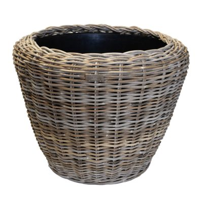 Large Round Grey Rattan Planter with Plastic Liner