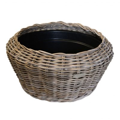 Round Grey Rattan Planter with Plastic Bowl