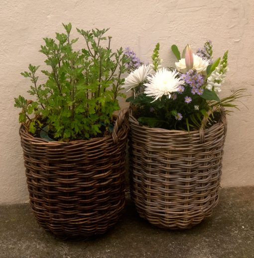 log basket planters