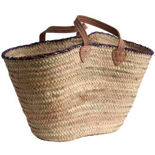 French Market Basket with Coloured Rim