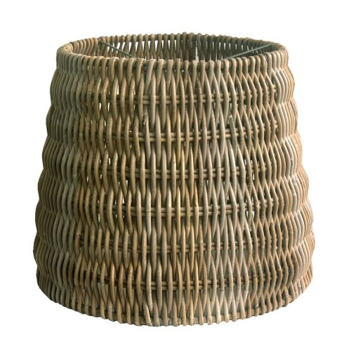 Tall Round Grey Rattan Lampshade