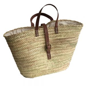 Lined French Market Basket with Securing Strap