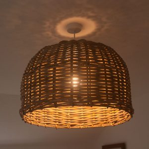 Large Round Shaped Grey Rattan Lampshade