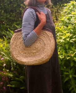 Shoulder Oval French Market Basket with Leather Rim