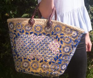 Blue Embroidered Shopping Basket